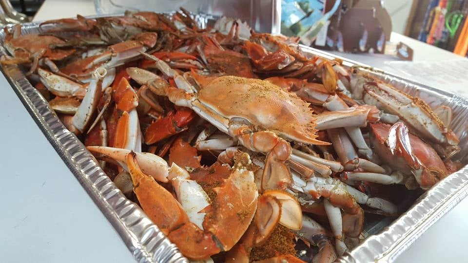 Locally Caught Steamed Blue Crabs by the Bushel