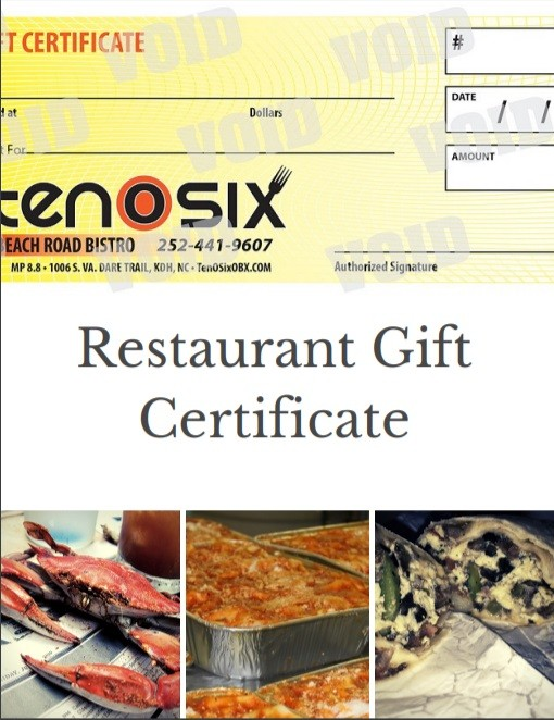 Outer Banks Restaurant Gift Certificates